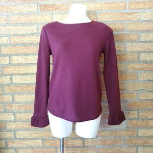 Elle Maroon Sweater with Flared Sleeves Size Small